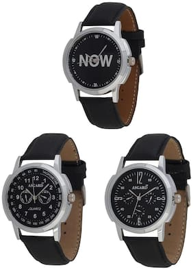 Asgard Black Dial Mens Watch -Set of 3