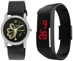 ASGARD COMBO WM-BUTTR & LED Analog Black Dial Women's Watch-SET OF 2
