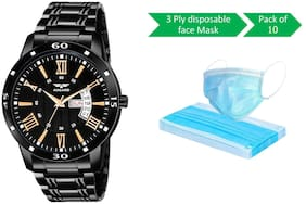 ASGARD Day n Date Watch With FREE Protection Mask of Pack of 10