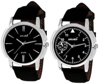 Asgard Men's Black Combo of 2 Stylish Watch