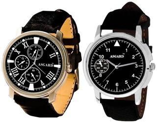 ASGARD Men's Stylish Analog Watch-Set of 2