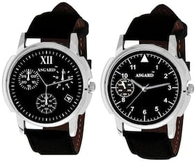 Asgard Men's Black Combo of 2 Analogue Stylish Watch