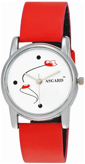 Asgard Red Leather Analog Watch