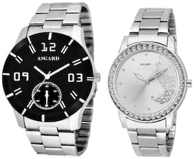 Asgard Silver Chain Combo of Watches For Mens & Womens