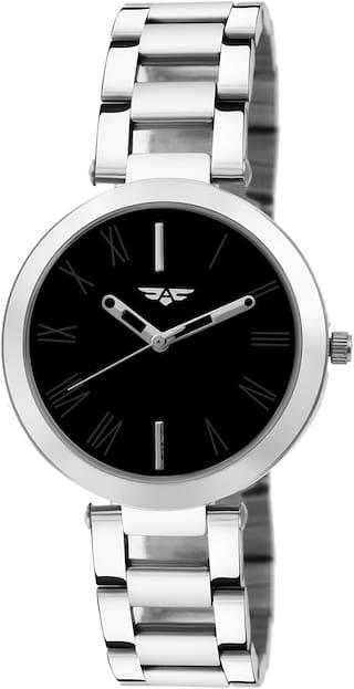 ASGARD Silver Chain Black Dial Watch For Girls, Women-188-IPS-FB