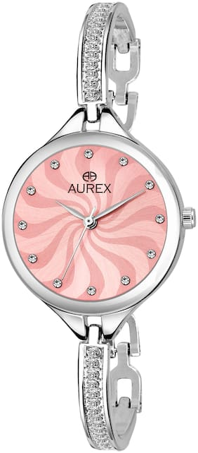 Aurex Analog Pink Dial Watch Water Resistant Silver Color Strap Wrist Watch for Women/Ladies/Girls (AX-LR546-PKC)