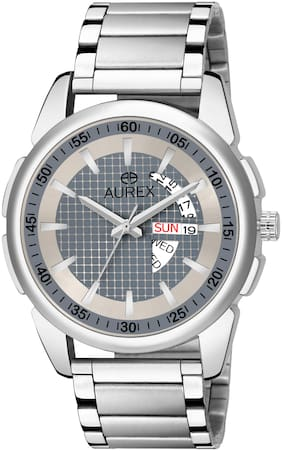 Aurex Analogue Grey Dial Day & Date Watch Water Resistant Silver Color Stainless Steel Bracelet Watch for Men/Boys (AX-GR148-GYC)