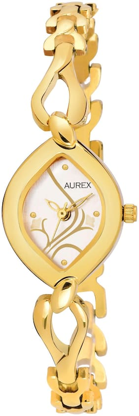 Aurex Analouge White Dial 18 K Gold Plated Watch Water Resistant Golden Color Strap Wrist Watches for Womens/Ladies/Girls (AX-LO2455-WHGL)