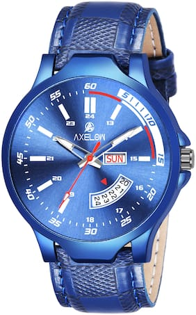 AX-G114-BLBL Blue Dial Day & Date Functioning Water Resistance Blue Strap Analogue  Watch For Men