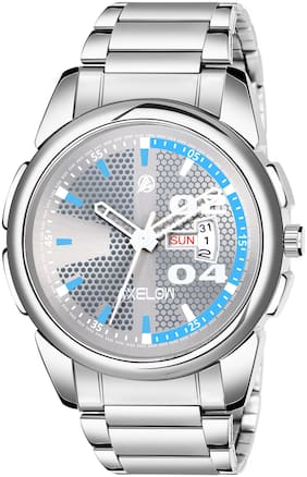 AX-G117-GRYCH  Grey Dial Day & Date Functioning Silver Stainless Steel Water Resistance Analog watch For Men