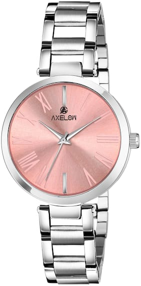 AX-L109- PKC  Peach Dial & Silver Stainless Steel Water Resistance Analog Watch For Women & Girl