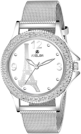 AX-L133-WTC  Awesome White Color Dial Water Resistance Stainless Silver Strap Watch For Women Analog