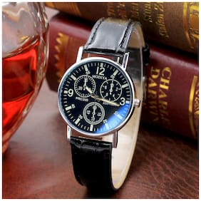 BD Glass Mens Watches Top Luxury Leather Strap Wristwatch Mens Gift Quartz Watch Waterproof