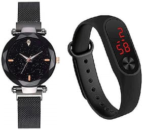 BID Rich Looking Luxury Black Strap - Black Dial - Magnet Buckle Watches Analog Watch And Black LED  - For Girls(combo of 2)