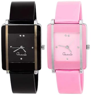 BLACK AND PINK SQUARE DIAL ANALOG WATCH Watch - For Women