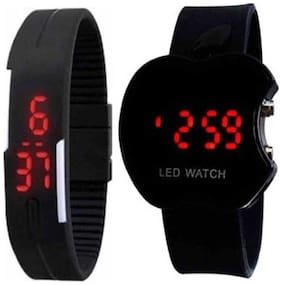Black Apple Shape Dial & Black Rubber Belt Atrractive And Comfertable Strap  Digital Watch   For Boy  (Combo Of 2)