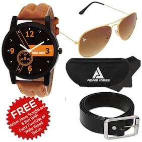 Black Dial Analog Watch with Free Sunglasses & Belt