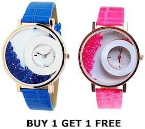 Blue And Pink Diamond Watch For Woman Combo of 2