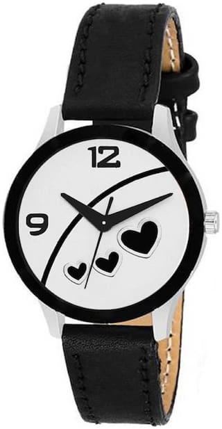 Bolun Black Heart Print Party Wedding Designer Italian Leather Strap Watch