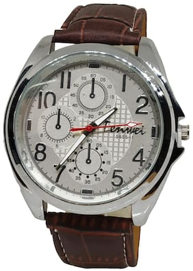 Branded Men Brown Strap Analogue chrono Style Wirst Watch