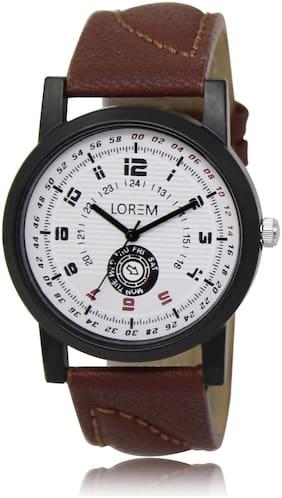 brown leather belt round analogue dial designer track designer wrist watch stylish men and boys watch