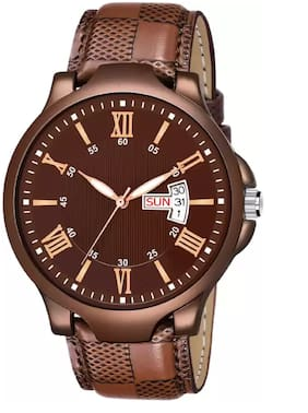 selloria Brown stylish Day and date Professional watch for boys