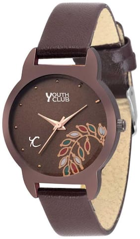 Brownish Floral Analog Watch - For Girls