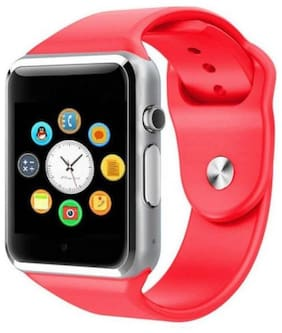 BTK Trade A1-SW Bluetooth Smart Watch with Camera and Sim Card Support and Fitness Band Feature Compitable with All Smart Phones (Red)