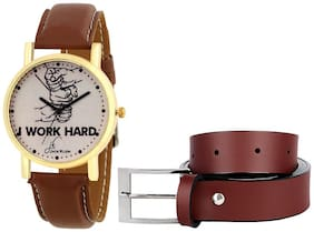 Buy Jack Klein Stylish look Leatherite Brown Needle Pin Point Belt And Get Watch Free