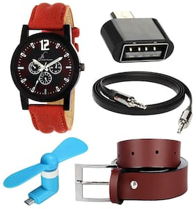 Buy Jack klein Stylish Round Dial Analog Watch with Free Brown Belt + Aux Cable + Usb OTG adapter + Usb Fan