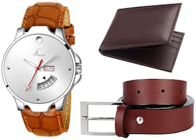 Buy Jack Klein Formal And Elegant Brown Day And Date Working Watch And Get Free Belt And Wallet.