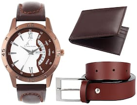 Buy Jack Klein Brown Sporty Day And Date Working Watch And Get Free Belt And Wallet.