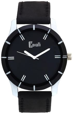 Cavalli Black Leather Analog Men's Watch
