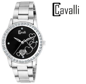 Cavalli  Black Dial Heart Printed Studded Love Watch-for Women;Girls