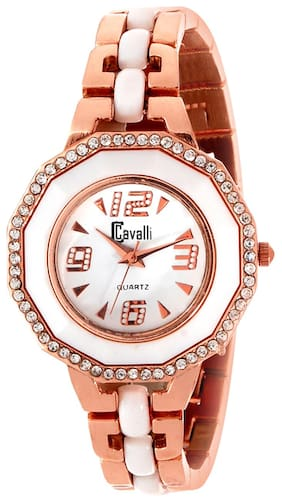 Cavalli  Golden And White Analog Watch