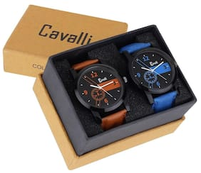 Cavalli  Analogue Mens Combo of Latest Tan Blue Watch CAV415