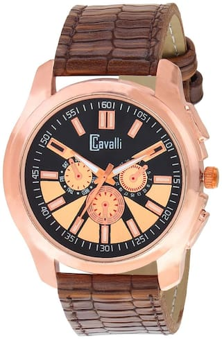 Cavalli  SLIM SERIES CW428 Gold Designer Case Black Dial Men's Watch
