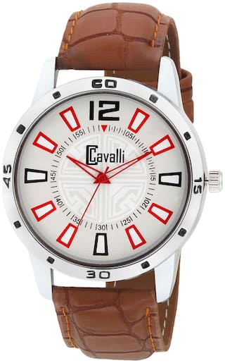 Cavalli  EXCLUSIVE SERIES Chrome Designer Case White Dial Brown Leather Strap Men's Watch-CW469