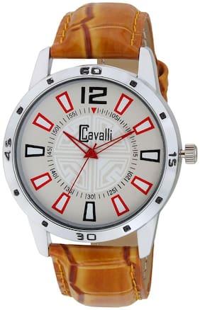 Cavalli  EXCLUSIVE SERIES Chrome Designer Case White Dial Tan Leather Strap Men's Watch-CW477