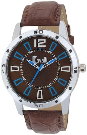 Cavalli  EXCLUSIVE SERIES Chrome Designer Case Brown Dial Brown Leather Strap Men's Watch-CW473