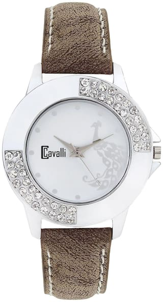 Cavalli  CW420 White Dial Studded Exclusive Watch - For Women