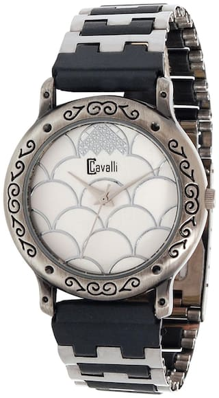 Cavalli  Silver And Black Analog Watch