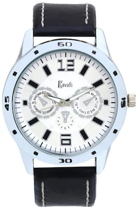 Cavalli Silver Leather Men's Watch