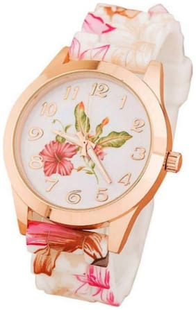 RUSTET Analogue White Dial Leaf Print Rubber Strap Latest Watch - For Women