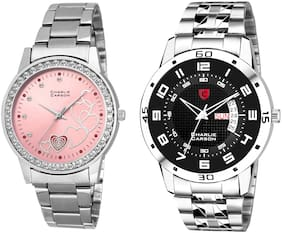 Charlie Carson day & date watch combo set of 2 Stainless Steel watches for men & women-CC419MGC
