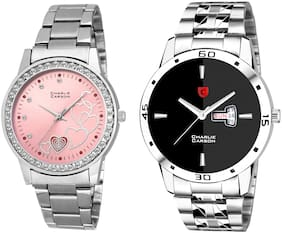 Charlie Carson day & date watch combo set of 2 Stainless Steel watches for men & women-CC438MGC