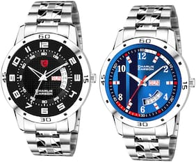 Charlie Carson day & date combo set of 2 Stainless Steel watch for men-CC356MMC