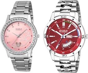 Charlie Carson day & date watch combo set of 2 Stainless Steel watches for men & women-CC424MGC