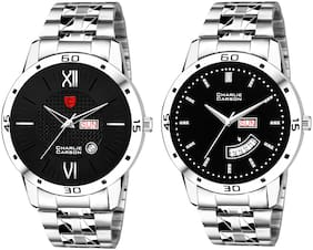 Charlie Carson day & date combo set of 2 Stainless Steel watch for men-CC301MMC