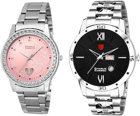 Charlie Carson day & date watch combo set of 2 Stainless Steel watches for men & women-CC418MGC